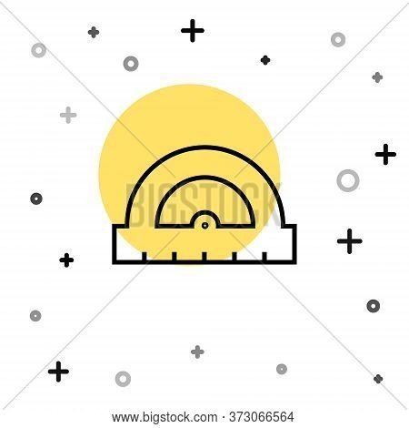 Black Line Protractor Grid For Measuring Degrees Icon Isolated On White Background. Tilt Angle Meter