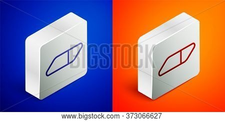 Isometric Line Eraser Or Rubber Icon Isolated On Blue And Orange Background. Silver Square Button. V