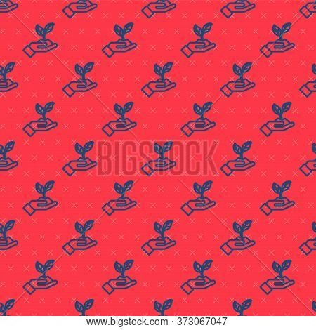 Blue Line Plant In Hand Of Environmental Protection Icon Isolated Seamless Pattern On Red Background