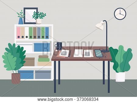 Writer Workplace Flat Color Vector Illustration. Work Desk With Notes And Documents. Table For Freel