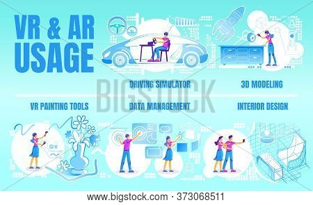 Vr And Ar Usage Flat Color Vector Conceptual Infographic Template. Poster, Booklet, Ppt Page Concept