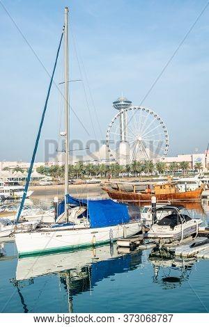 Abu Dhabi, United Arab Emirates - 13/03/2020: A Far View Of Abu Dhabi Marina Mall With Yacht Halt Pl