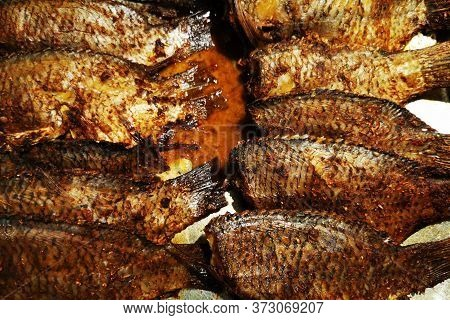 Grilled Fishes Texture As Very Nice Food Background