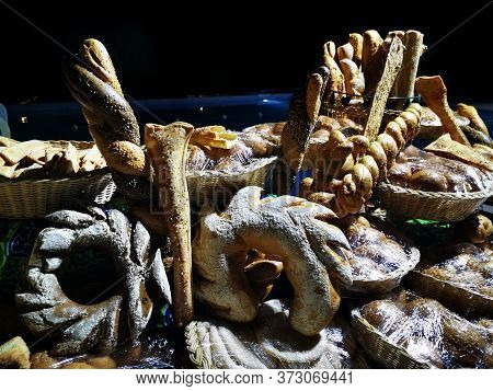 Nice Bread Collection In The Night As Gourmet Background