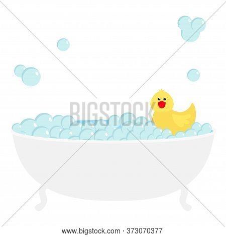 Bathtub Bath Tube Soap Foam Bubble Icon. Bathroom Interior. Cute Yellow Rubber Duck Toy. Kawaii Anim