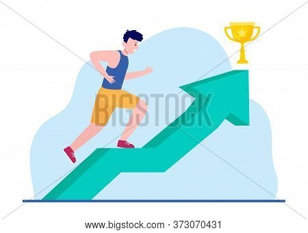 Young Man Spiriting Of Verticality For Golden Cup. Arrow, Award, Ambition Flat Vector Illustration.