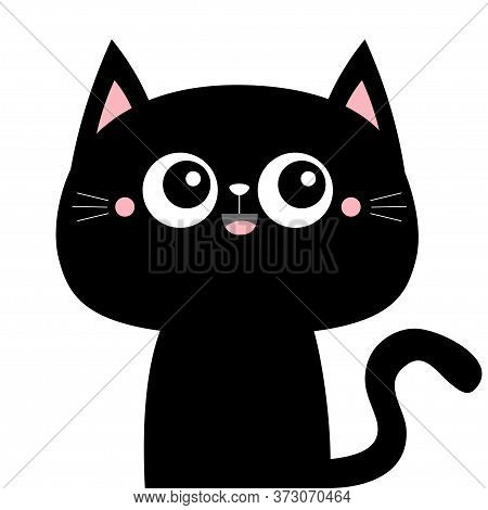 Cute Black Cat Kitty Kitten Icon. Kawaii Cartoon Character. Smiling Face, Tail. Happy Valentines Day