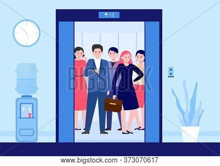 Different People Lifting On Elevator. Open Door Of Office Lifts With Workers Waiting Moving Inside C