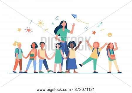 Young Teacher With Joyful Kids Isolated Flat Vector Illustration. Cartoon Happy Children In Kinderga