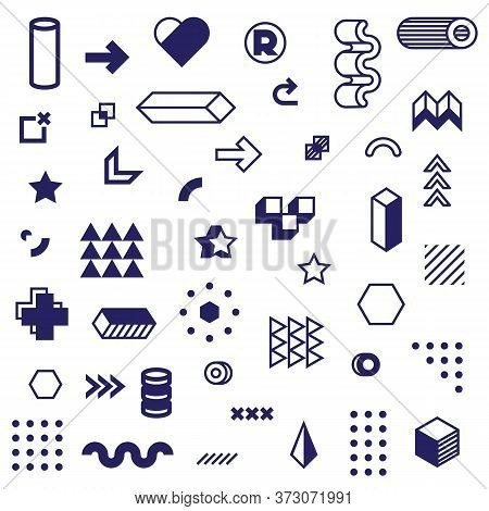 Different Graphic Geometric Icon Set. Modern Abstract Graphic Elements, Shapes, Pictograms And Figur