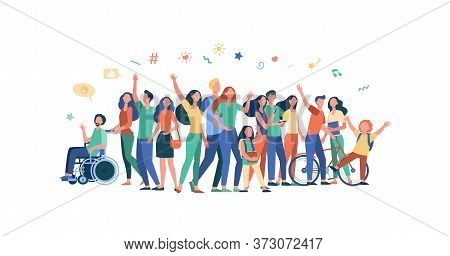 Multicultural People Standing Together Isolated Flat Vector Illustration. Cartoon Diverse Characters