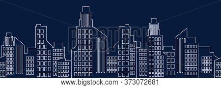 Cityscape Outline, City Houses Seamless Border, Urban Multi-story Buildings Silhouette, Town Frame B