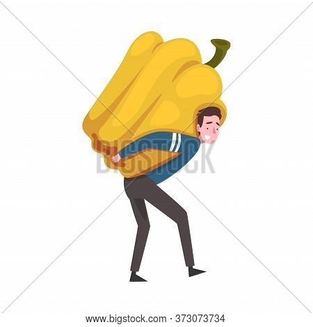 Young Man Carrying Big Pepper, Male Farmer Character With Natural Organic Vegetable Vector Illustrat