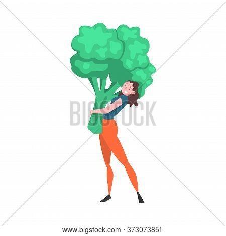 Girl Carrying Big Broccoli, Female Farmer Character With Natural Organic Vegetable Vector Illustrati