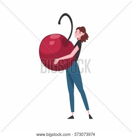 Girl Carrying Big Ripe Ripe Cherry, Female Farmer Character With Natural Organic Berry Vector Illust