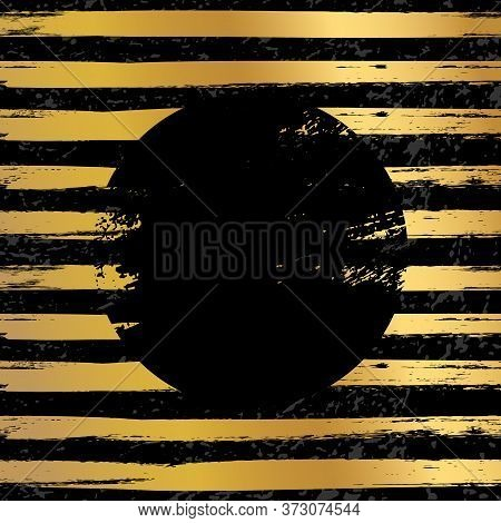 Round Black Stamp Vector Illustration. Glittering Metallic Striped Golden And Black Background With