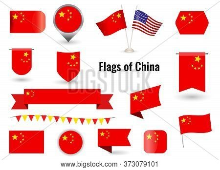The Flag Of China. Big Set Of Icons And Symbols. Square And Round China Flag. Collection Of Differen