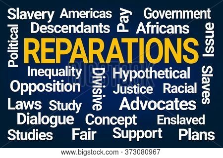 Reparations Word Cloud on Blue Background