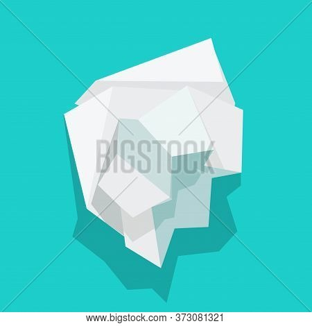 Paper Crumpled Ball Vector Icon Or Trash Wrinkle Page Flat Cartoon Illustration, Idea Of Garbage Pag