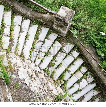 Stone Stairway. The Art Of Masonry. Up To Defensive Walls Of Historic Kamianets-podilskyi Castle, Fa
