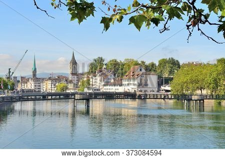 Zurich, Switzerland. Very Beautiful Quay Of The Old Town