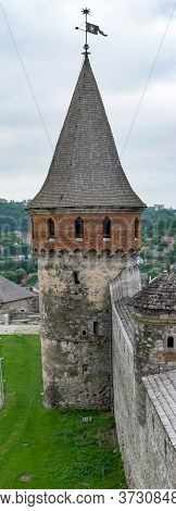 Medieval Castle Defensive Tower With Weather Vane. Kamianets-podilskyi, Ukraine
