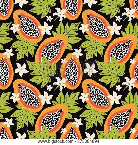 Exotic Summer Seamless Pattern. Orange Papaya On A Black Background. Tropical Sweet Fruit Cut Into S