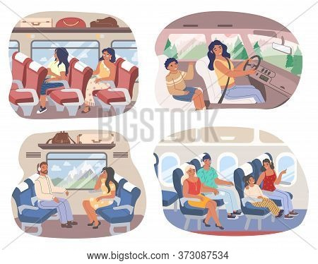 Passengers Inside Of Various Transport Means, Vector Flat Isolated Illustration