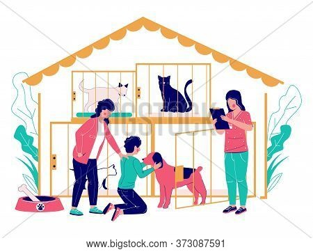 Pet Shelter Vector Concept Flat Style Design Illustration