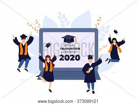 Virtual Online Graduation Ceremony On A Laptop Monitor During Coronavirus Quarantine. Tiny Graduates