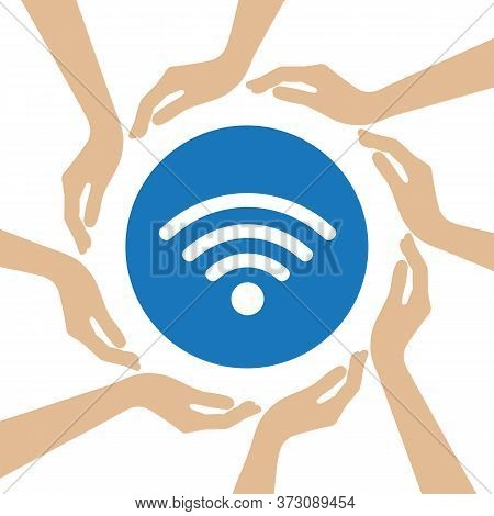 Wifi Symbol In The Middle Of Human Hands Vector Illustration Eps10