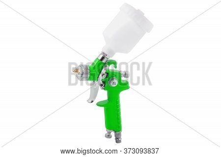 Green Spray Gun Isolated On White Background