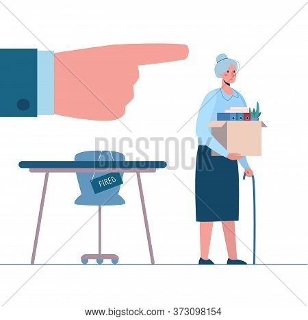 Retirement. Fired Old Person Leaves The Office With A Box In His Hands. Woman Without Work. Vector,