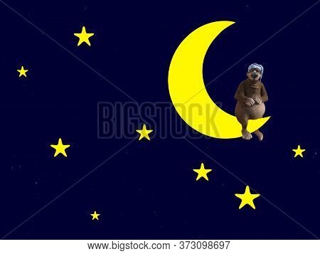 3d Rendering Of A Cute Sleepy Cartoon Bear Wearing A Night Cap And Sitting On A Crescent Moon In The