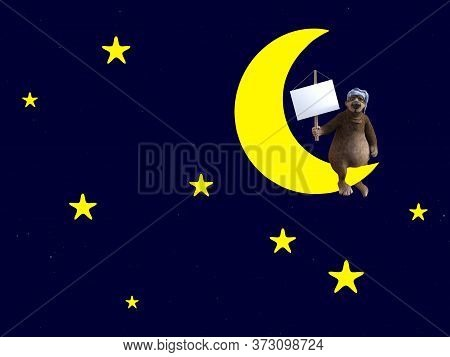 3d Rendering Of A Cute Sleepy Cartoon Bear Wearing A Night Cap And Sitting On A Crescent Moon, Holdi