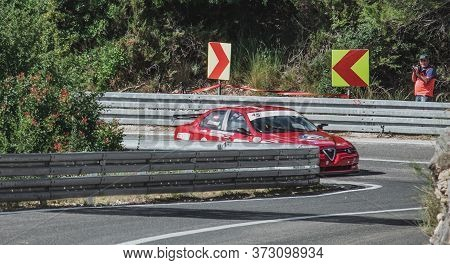 Skradin Croatia, June 2020 Alfa Romeo 156 Stw From Sternad Racing Seen From A Distance Entering A Co