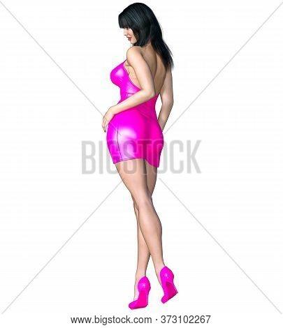 Beautiful Brunet Woman Pink Short Evening Mini Dress.summer Clothes Collection.bright Makeup.woman S