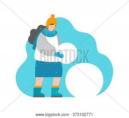 Cute Vector Concept In Flat Style. Girl Sculpts Snowman, Carries Ball In Hands. Winter Vacation, Tim