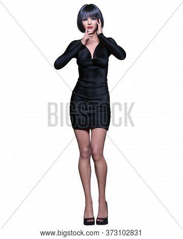 Beautiful Brunette Woman Black Short Mini Dress.summer Clothes Collection.bright Makeup.woman Studio