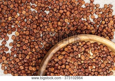 Full Plate With Legumes Bean Seed Gray Paes Close Up On Wooden Background With Copy Space. Healthy E
