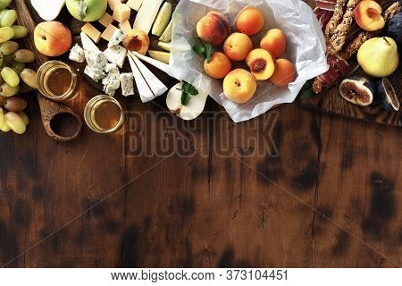 Top View Appetizers Wine Snacks Fruit Jamon Cheese Copy Space