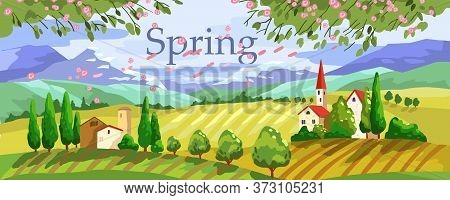 Vector Stock Horizontal Banner With Mountains, Village, Fields, Hills And Cypress. Rural Landscape W