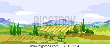 Vector Stock Horizontal Banner With Mountains, Hills, Cypress. Rural Landscape With Farming Fields.