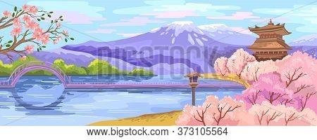 Vector Japanese Scenery With Sakura Garden, Lake, Bridge, Pagoda And Mountains On The Background. Sp