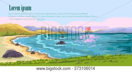 Vector Hand Drawn Seascape. Marine Background With Sand Beach, Rocks, Surf, Bay, Sunset. Horizontal