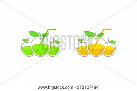 Vector Concept In Association Of Apples And Drinking Glass For Cool Drinks, Lemonades And Cocktails