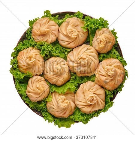 Veg Momos Isolated On White . Momos Is The Popular Dish Of Indian, Tibetan, Chinese Cuisines. Asian