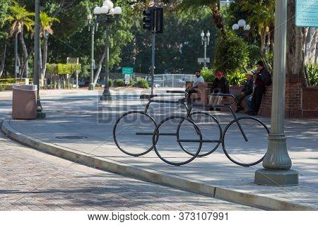 Los Angeles, California, Usa- 11 June 2015: Bicycle-shaped Sculpture On Olvera Street, El Pueblo De