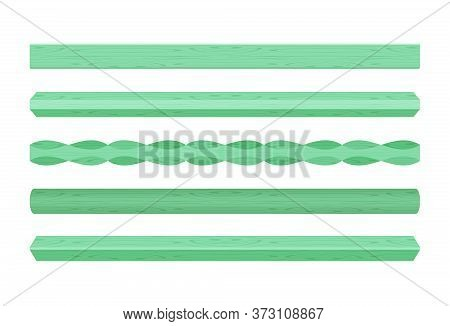 Wooden Vertical Lath Different Green Pastel Soft Color Isolated On White