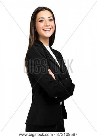 Portrait of happy business woman isolated on white background